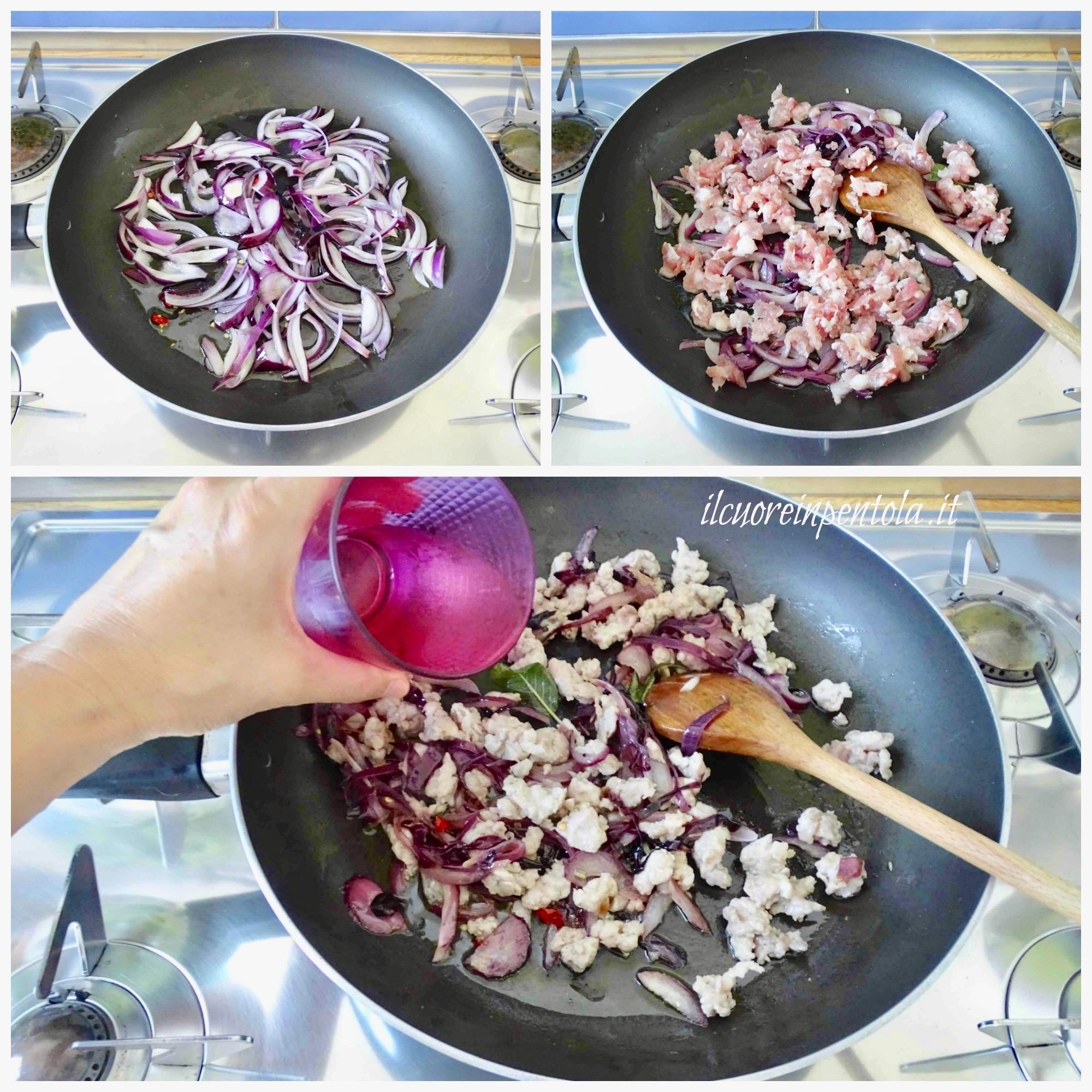 soffriggere cipolla e aggiungere salsiccia