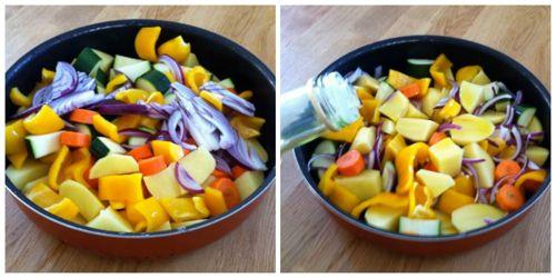 tagliare patate zucchine e peperoni