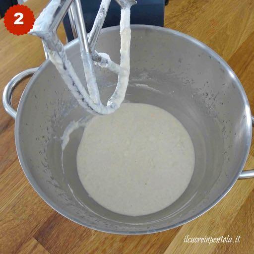 aggiungere metà farina e lievito