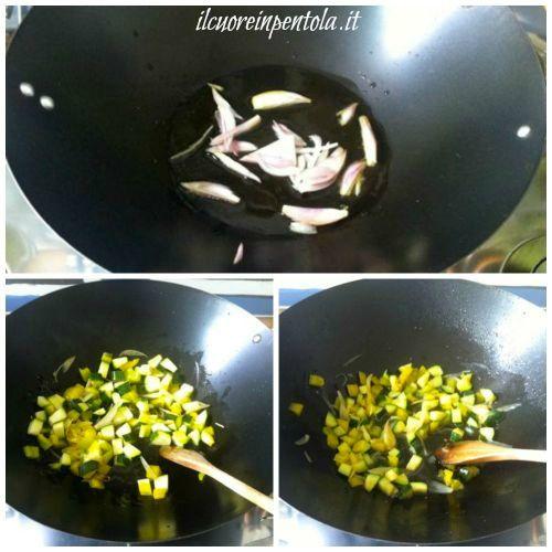 saltare verdure nel wok