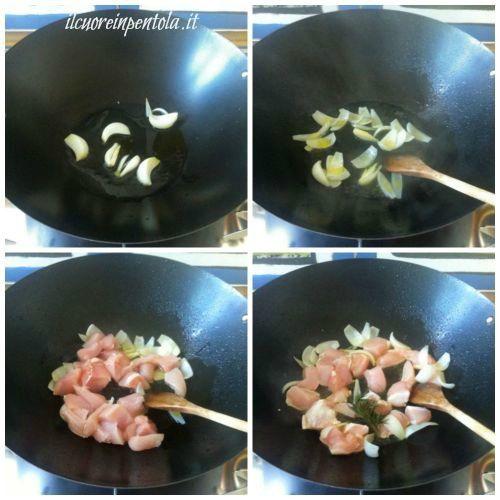 saltare il pollo nel wok
