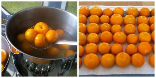 bollire mandarini e poi metterli su un canovaccio