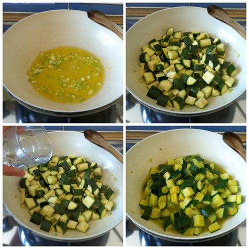 preparare soffritto e aggiungere zucchine