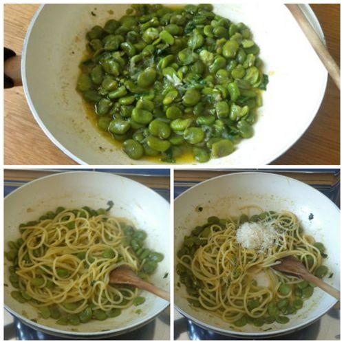 mantecare pasta con le fave