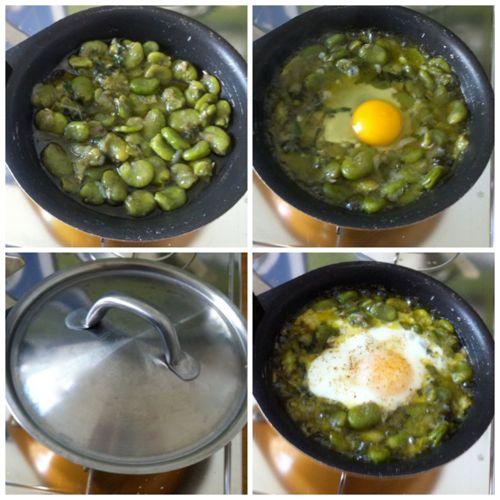 cuocere uova con le fave fresche