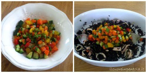 condire riso venere con calamari e verdure