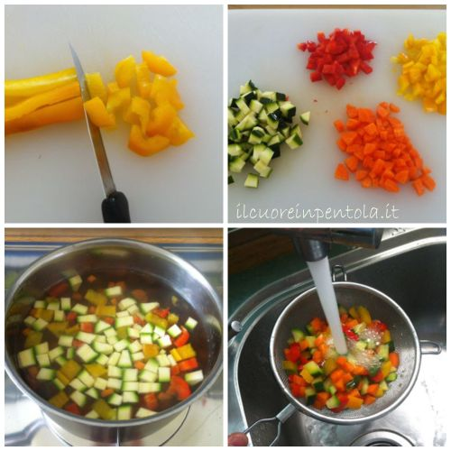 tagliare e sbollentare verdure