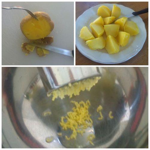 pelare e schiacciare patate