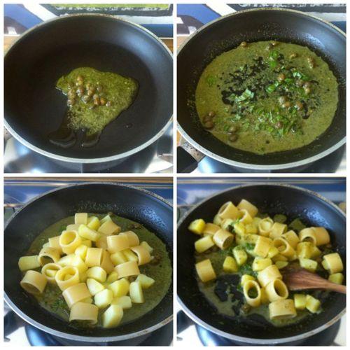 cuocere calamarata e aggiungere pesto