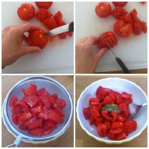 tagliare e condire pomodori
