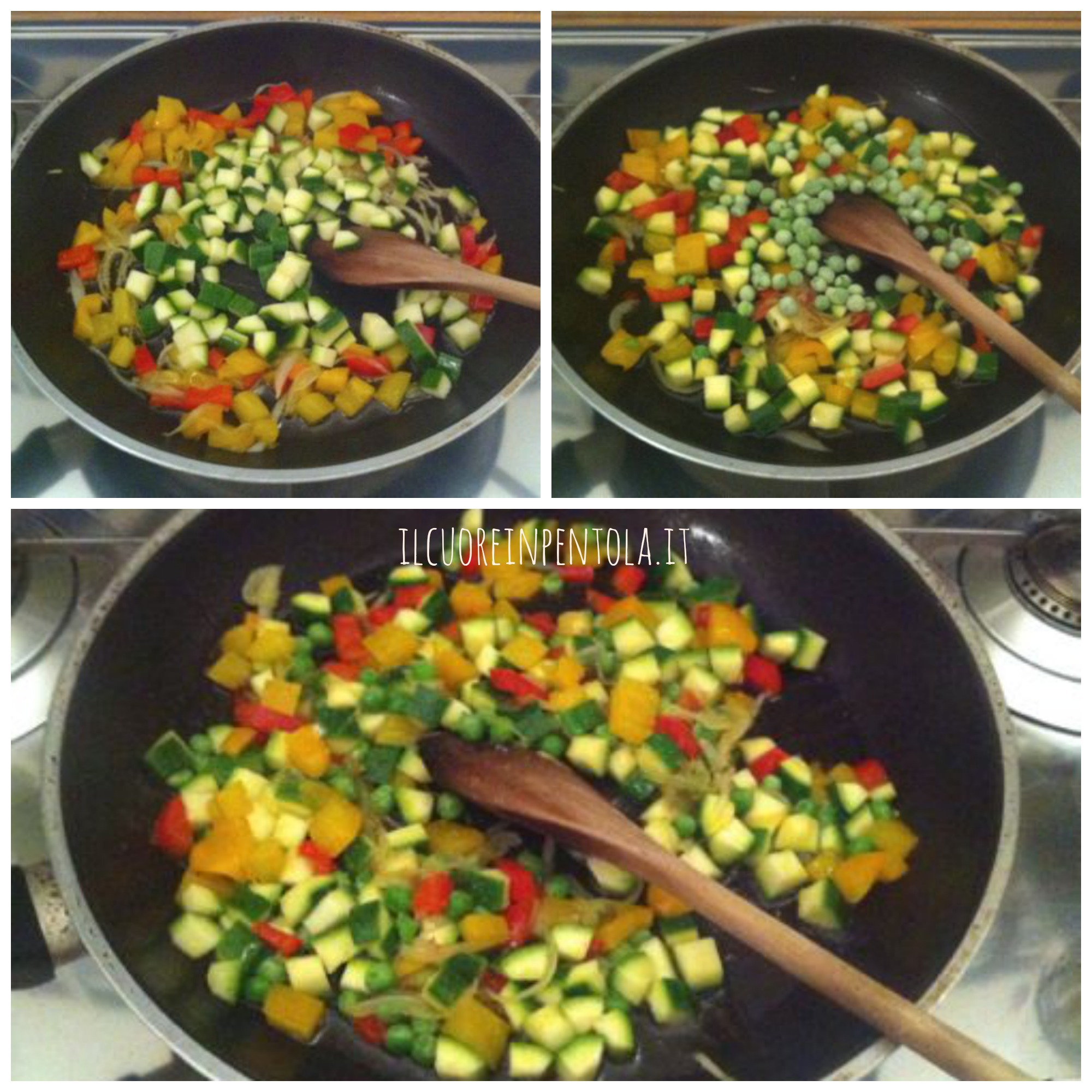 aggiungere zucchine ai peperoni