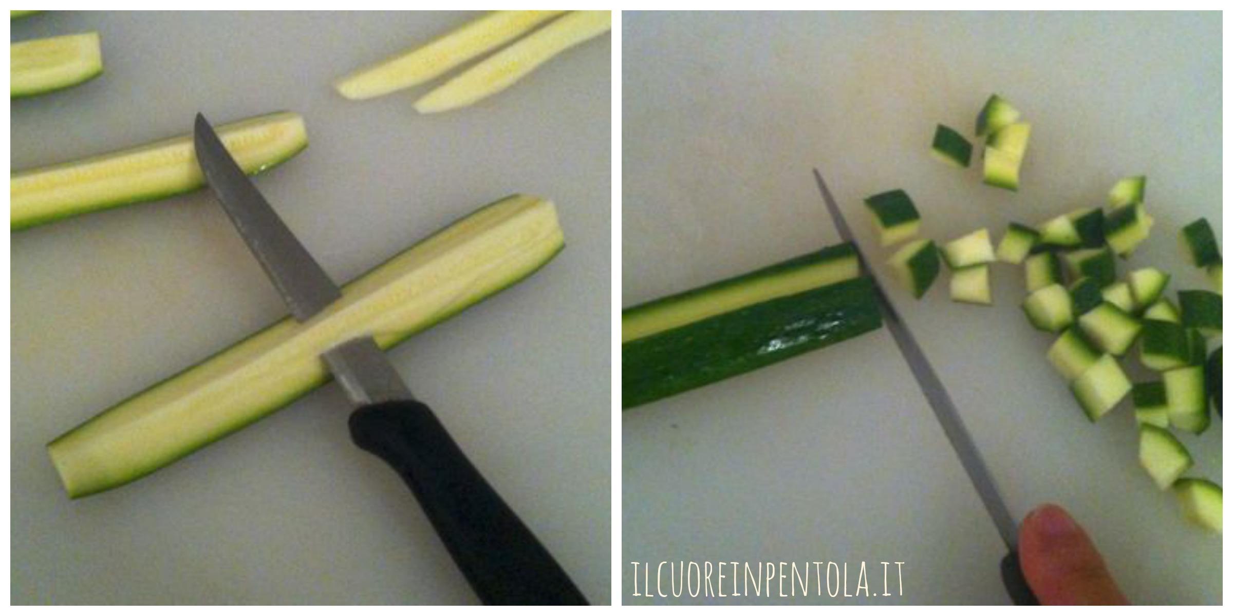 tagliare zucchine a piccoli pezzi