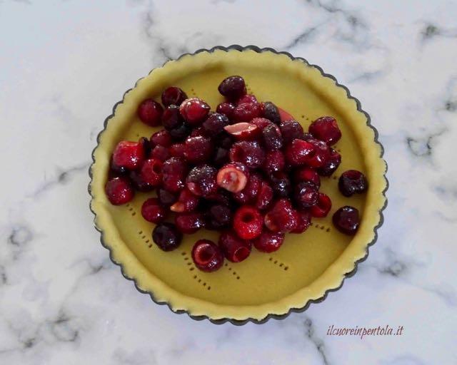 versare ciliegie nello stampo