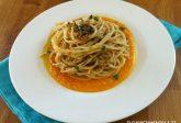 Spaghetti alla bottarga su crema di zucca