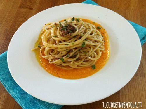 spaghetti-alla-bottarga-su-crema-di-zucca