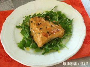 Filetto di salmone al pepe verde