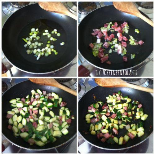 rosolare zucchine e speck