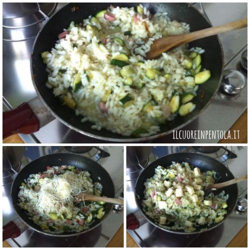 condire il riso con zucchine e speck
