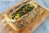 Pasta sfoglia con patate e salmone affumicato