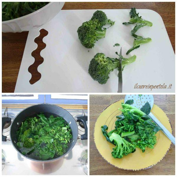pulire e cuocere broccoli