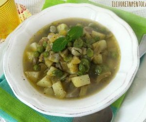 Zuppa di fave carciofi e piselli