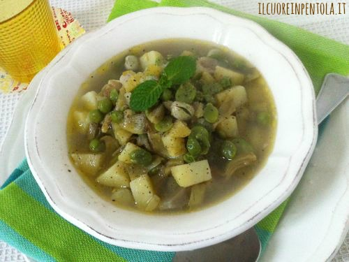 zuppa fave carciofi e piselli