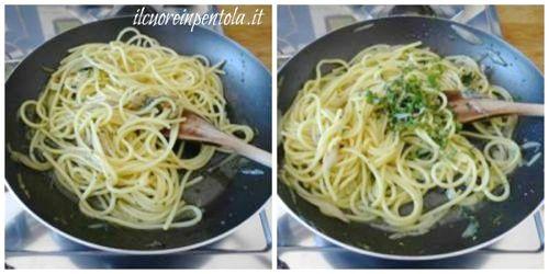 mantecare pasta con soffritto e aromi