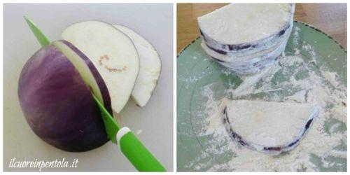 tagliare e infarinare melanzane