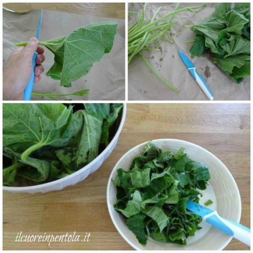 tagliare le foglie dei tenerumi