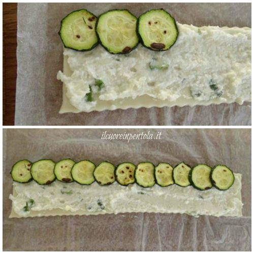 disporre zucchine sul bordo superiore della sfoglia