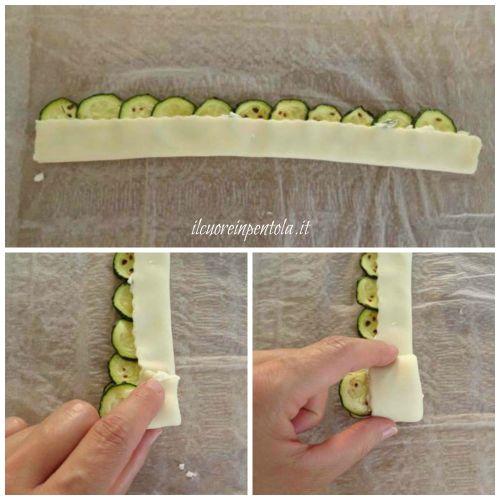 formare rose di zucchine