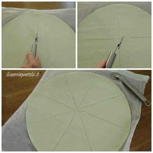 tagliare pasta sfoglia a spicchi