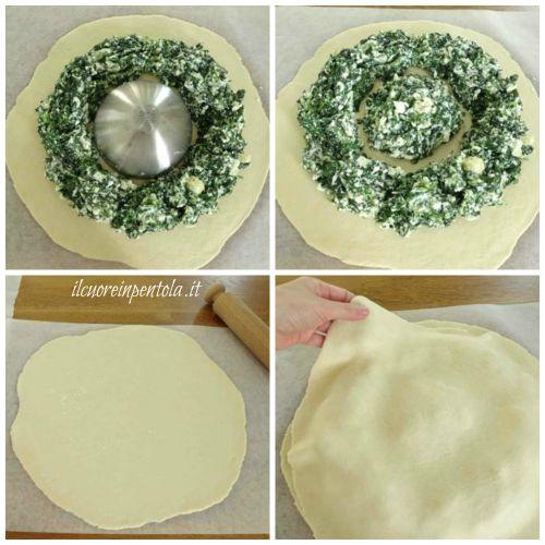 realizzare cerchio di ricotta e spinaci