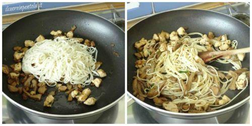 saltare noodles con pollo e funghi