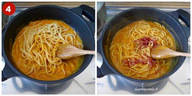 mantecare pasta con crema di zucca