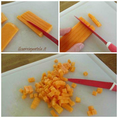 tagliare zucca rossa a dadini