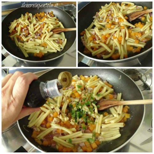 mantecare pasta con zucca