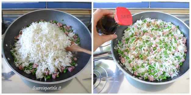 aggiungere riso e salsa di soia