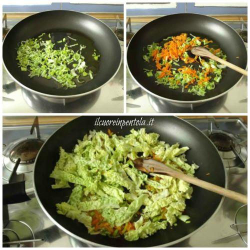 soffriggere porro carote e verza