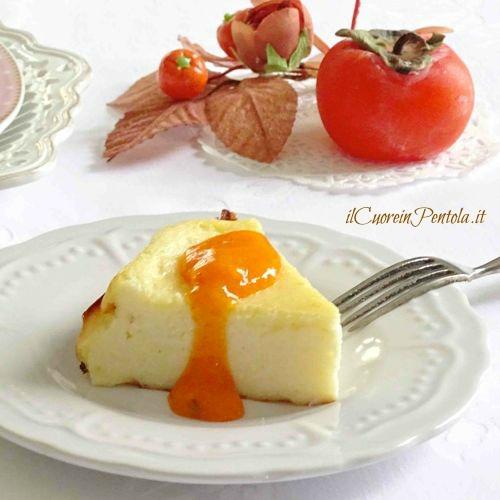 torta alla ricotta con crema di cachi