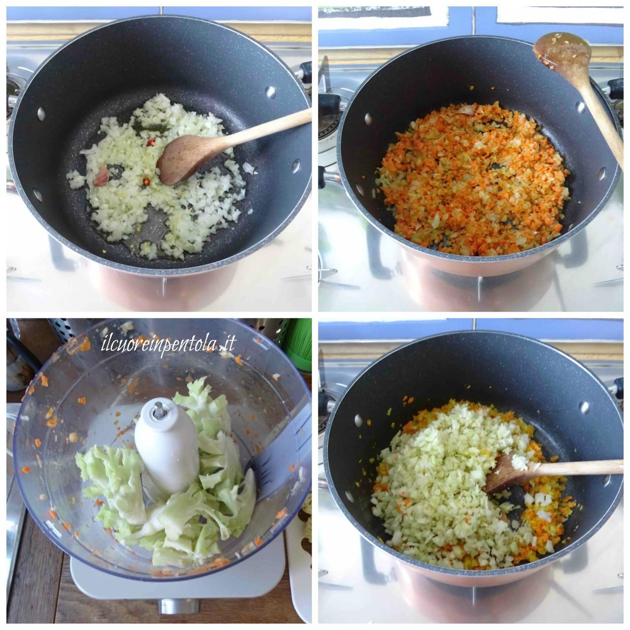 soffritto di cipolla carote sedano