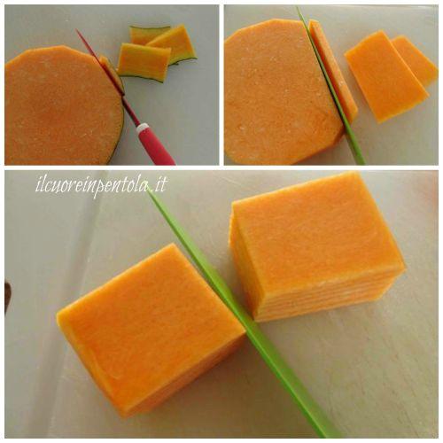 pulire e tagliare zucca