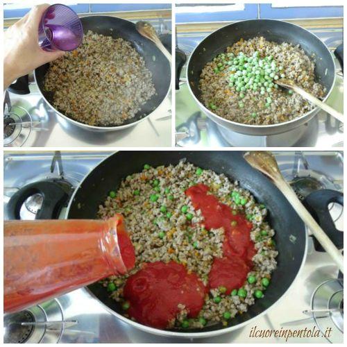 aggiungere piselli e passata di pomodoro