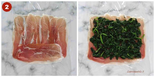 preparare prosciutto crudo e spinaci