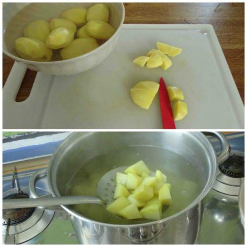 tagliare e bollire patate