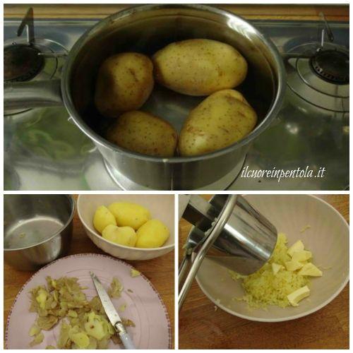 bollire e schiacciare patate