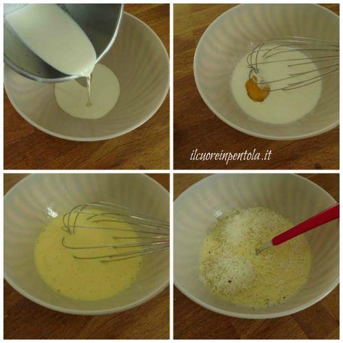 mescolare panna e uova
