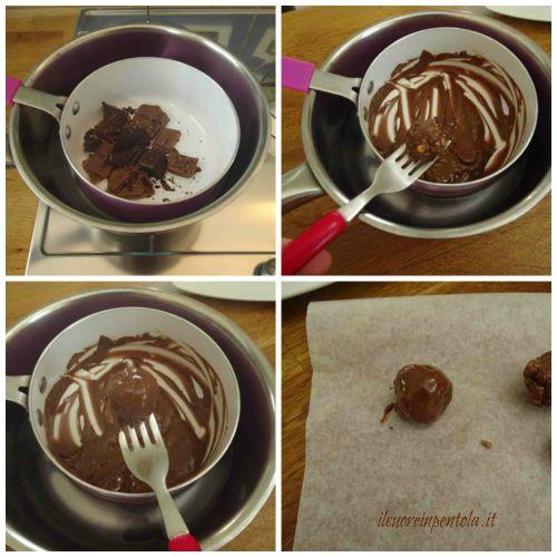 rotolare ferrero rocher nel cioccolato fuso