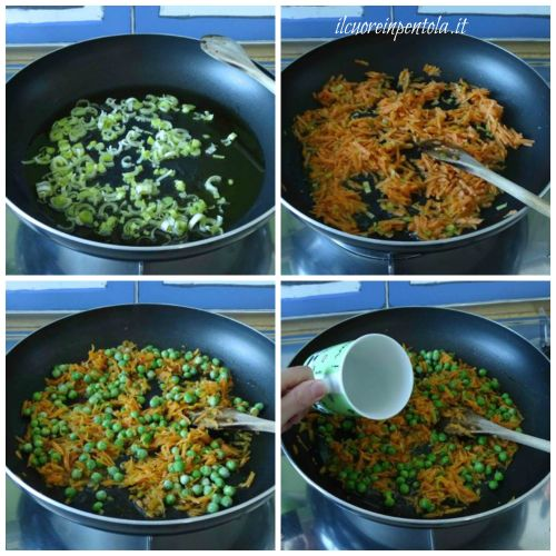 soffriggere porro carote e piselli