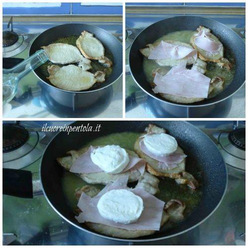 aggiungere prosciutto e mozzarella